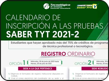 Conoce el calendario de inscripción a las pruebas Saber TyT 2021-02