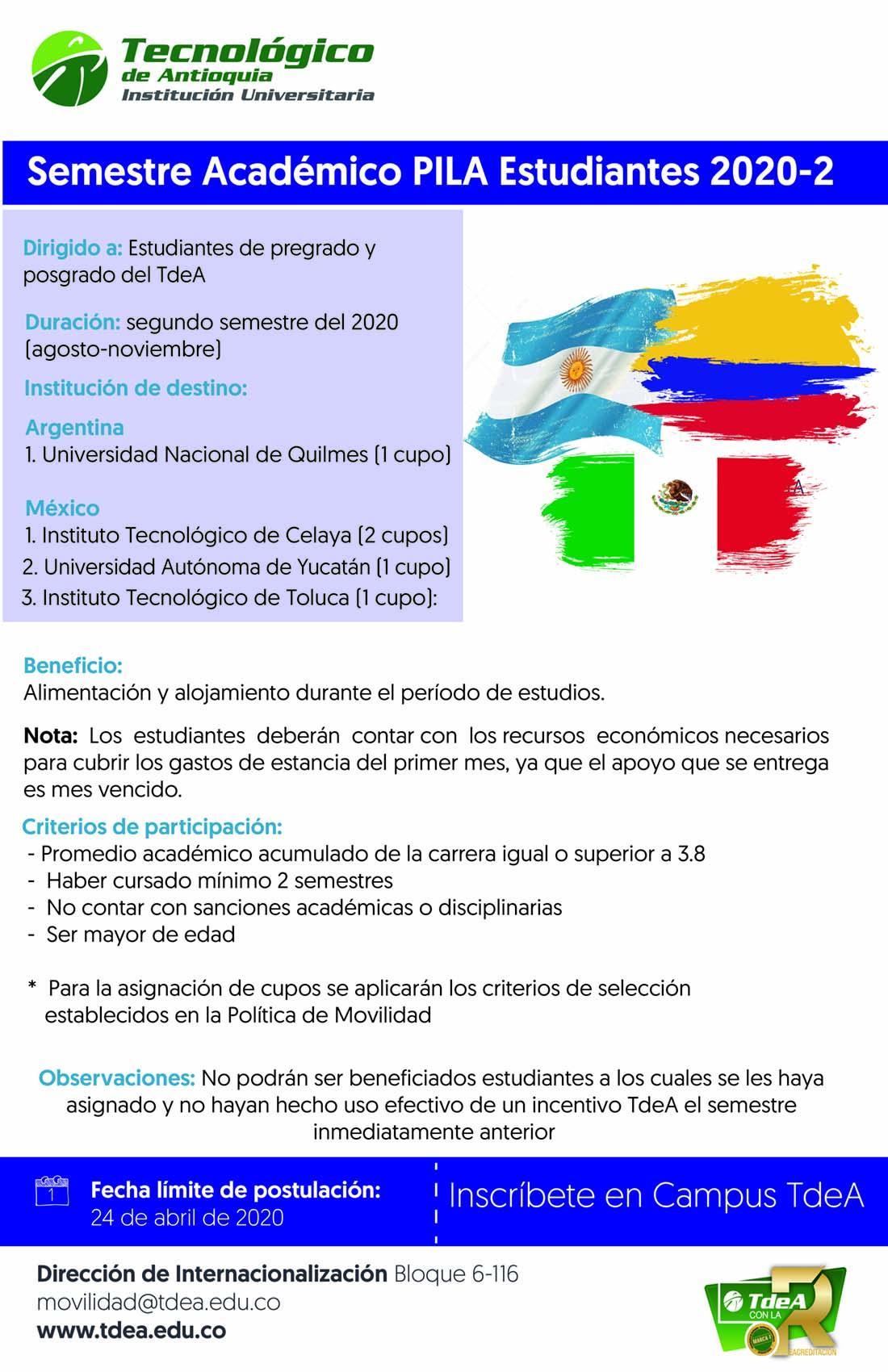 Semestre académico PILA estudiantes 2020-02