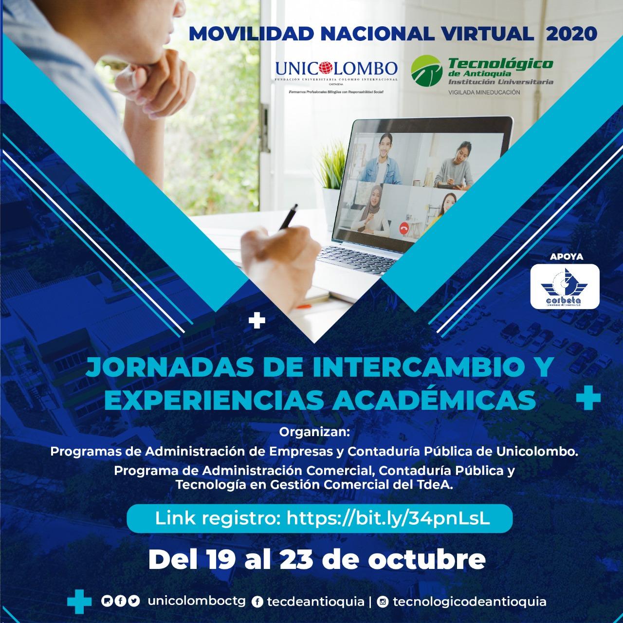 Movilidad Nacional Virtual 2020. Jornadas de intercambio y experiencias académicas.