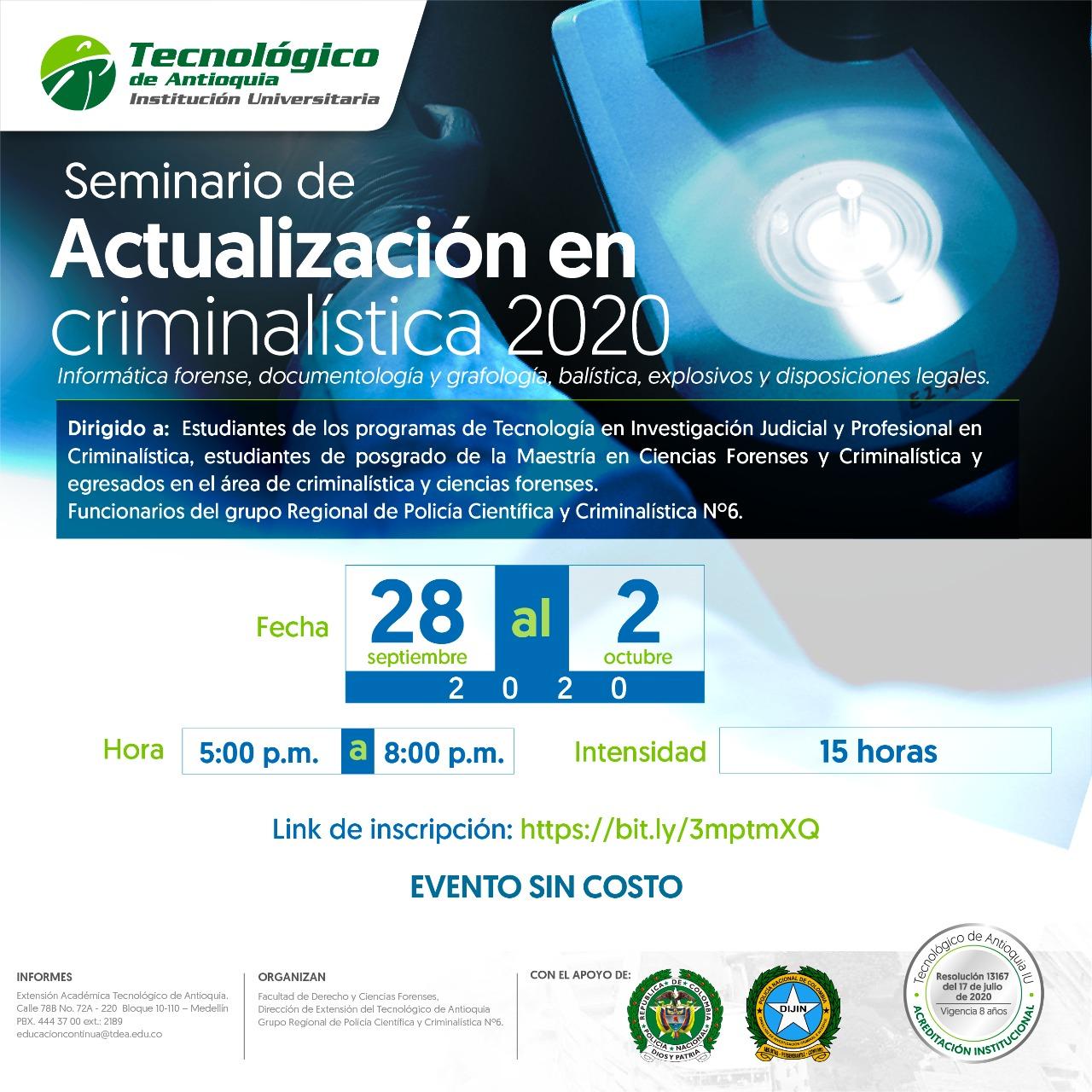 Seminario de actualización en criminalística 2020