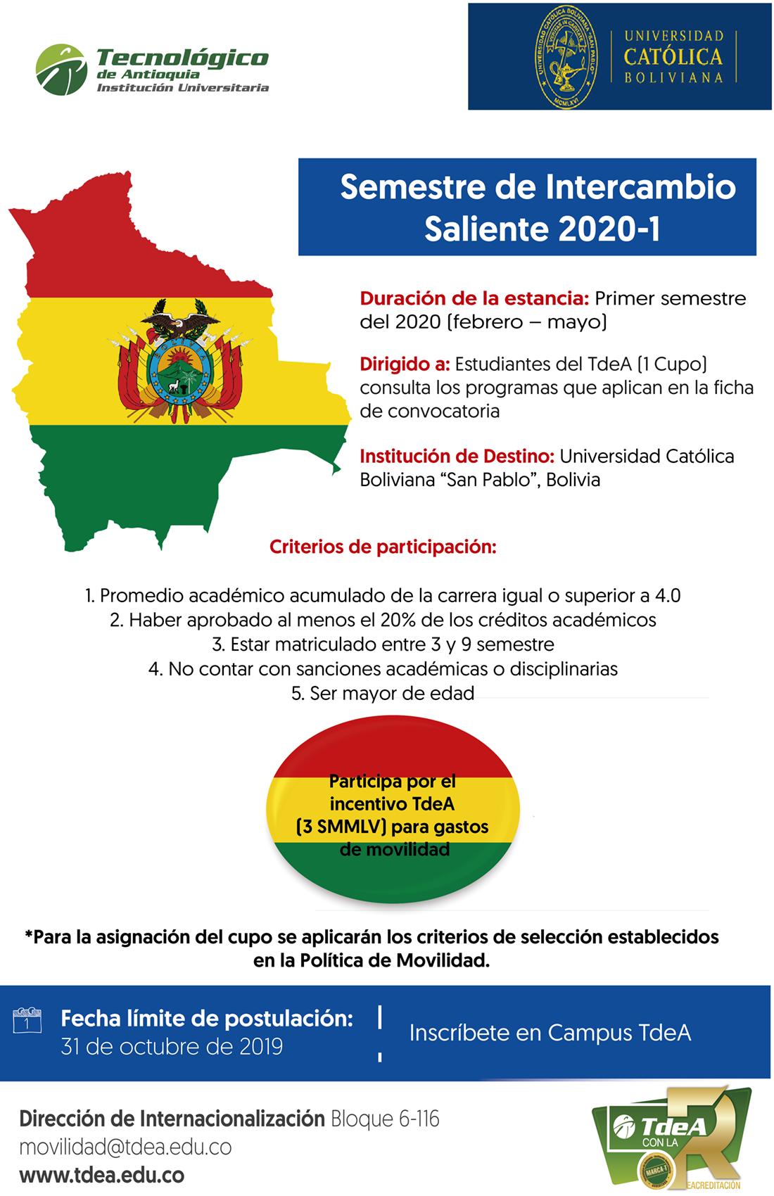 Semestre de Intercambio Saliente 2020-1 Bolivia