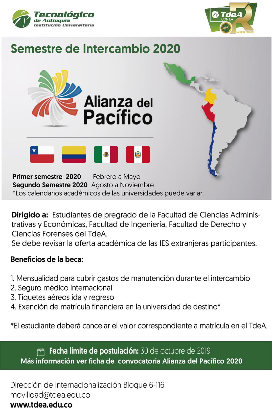 Semestre de intercambio 2020 - Alianza del Pacífico
