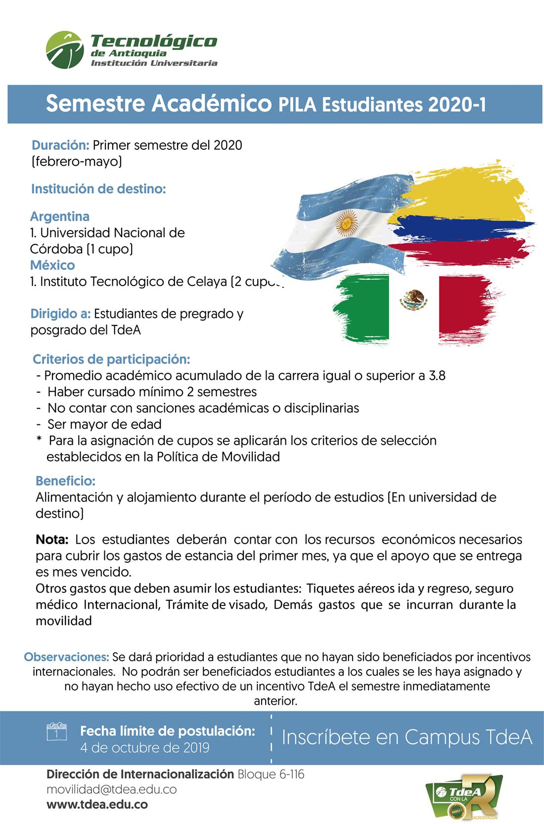 Semestre académico PILA estudiantes 2020 - 1