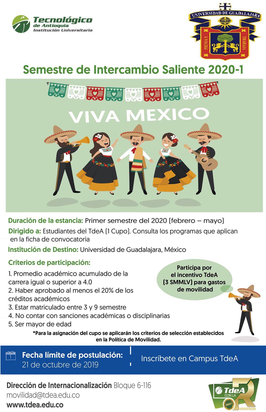 Semestre de intercambio Saliente 2020 - 1 Universidad de Guadalajara