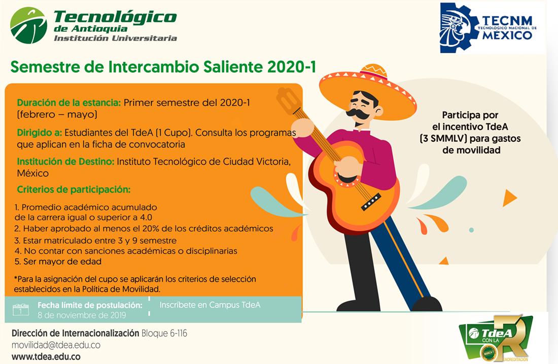 Semestre de intercambio saliente 2020 - 1TECNM México